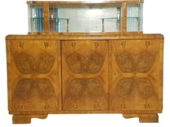 Art Deco, Sideboard, Vitrine, Commode, unrestored, walnut wood, glas, livingroom, hand-crafted, individual interior, made in germany