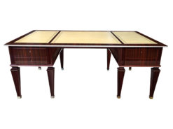 Table, furniture, living room, France, Art Deco, Macassar, Diplomat table, furniture, brown, design, luxury, leather plate, desk