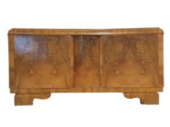 Art Deco, cabinet, commode, vitrine, root wood, timeless, restored, made in germany, livingroom, individualised, hand-crafted