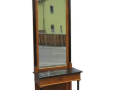 Biedermeier, console, mirror, two pieces, black marble, high gloss, walnut wood,birch wood, black column, drawer, restored