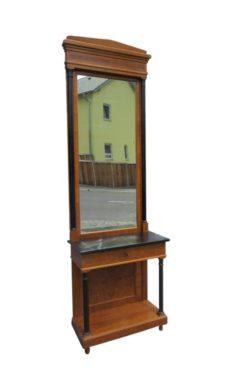 Biedermeier, console, mirror, two pieces, black marble, high gloss, walnut wood,birch wood, black column, drawer, restored