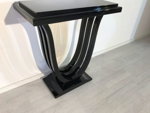 Black, elegant, console, art deco, great foot, living room, design, replicas, luxury, veneer, mahogany, piano lacquer, style