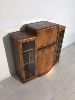 Glass, secretary, art deco, grand foot, living room, storage space, luxury, veneer, unrestored, brown, customizable, beautiful