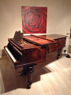 burl wood, grand piano, ornaments, untuned, breitkopf und härtel, hand polished, music, living room, room, germany, leipzig