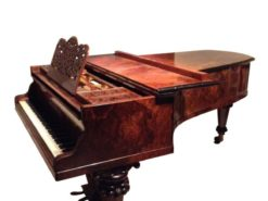 burl wood, grand piano, ornaments, untuned, breitkopf und härtel, hand polished, music, living room, room, germany, leipzig