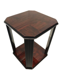 Black, high gloss, side table, art deco, great foot, living room, chrome handles, lacquer, luxury, veneer, chrome lines, piano lacquer, mahogany