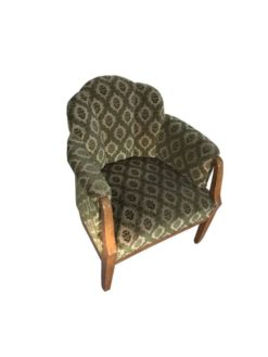 Green, fabric, armchair, art deco, great foot, living room, wood, beautiful pattern, luxury, unrestored, upholstery, vintage, customizable