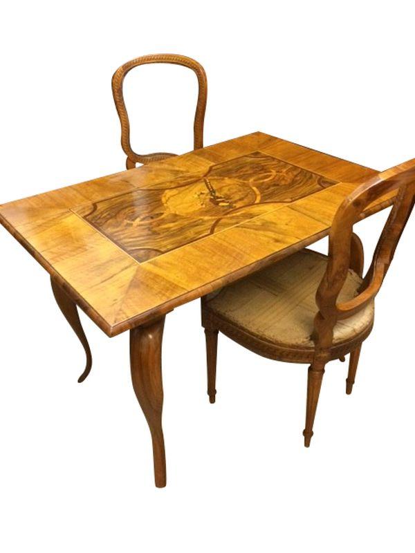 Baroque Living Room Game Table Walnut Veneer Ornaments
