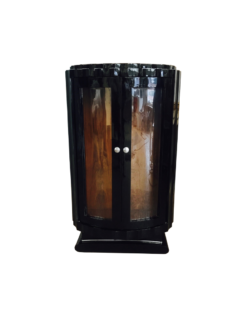 black, high gloss, display case, art deco, great foot, living room, chrome handles, lacquer, luxury, veneer, replicas, piano lacquer, art deco design