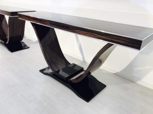 brown, high gloss, console, art deco, great foot, living room, couple, lacquer, luxury, funier, chrome lines, piano lacquer, makassar