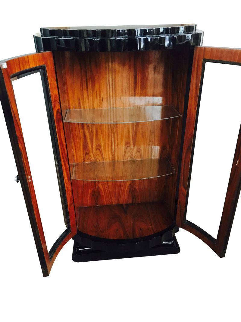 Black High Gloss Display Case Art Deco Great Foot Living Room