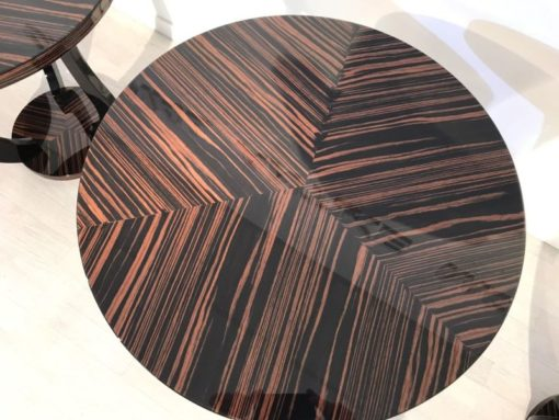 brown, high gloss, table, art deco design, great foot, living room, curved foot, lacquer, luxury, veneer, chrome lines, piano lacquer