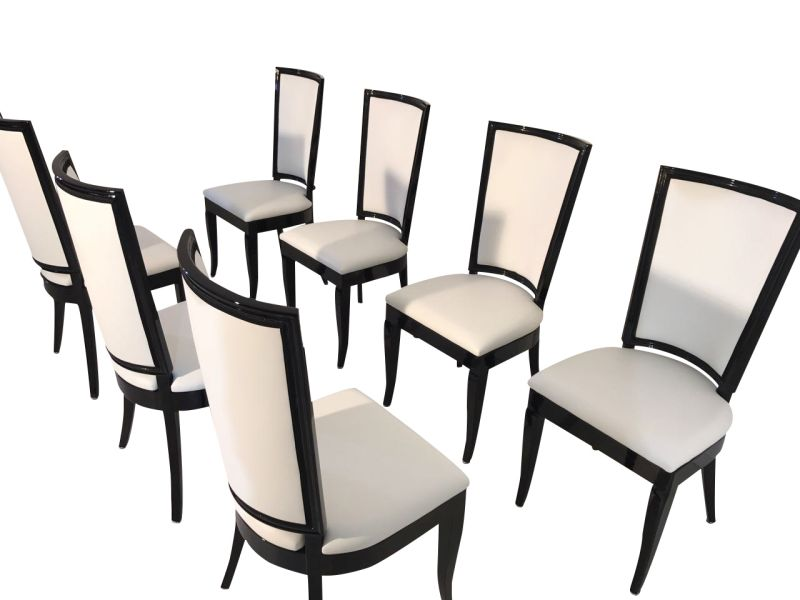 White, High Gloss, Chairs, Art Deco, Great Foot, Living Room,