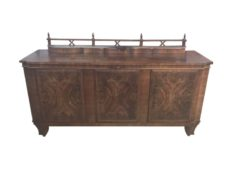 brown, high gloss, sideboard, art deco, curved legs, living room, top, luxury, veneer, chrome lines, walnut wood, filigree