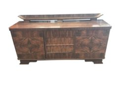 brown, high gloss, sideboard, art deco, great foot, living room, inlay, lacquer, luxury, veneer, tower, storage space, design