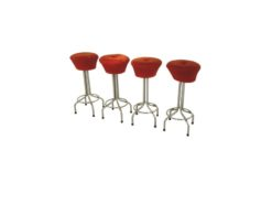 red, fabric, bar stool, vintage, great foot, living room, chrome, lacquer, luxury, veneer, chrome lines, comfortable, bar, stool