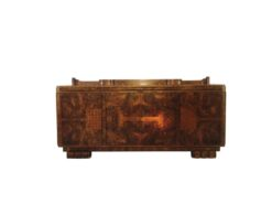 light brown, brown, high gloss, sideboard, art deco, great foot, living room, great top, lacquer, luxury, veneer, walnut, inlaid