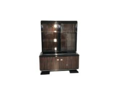 black, high-gloss, vitrine, art deco, great foot, living room, chrome handles, lacquer, luxury, veneer, chrome lines, piano lacquer