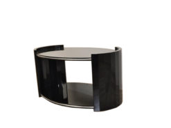 black, high gloss, couch, art deco, great foot, living room, table, lacquer, luxury, veneer, chrome lines,