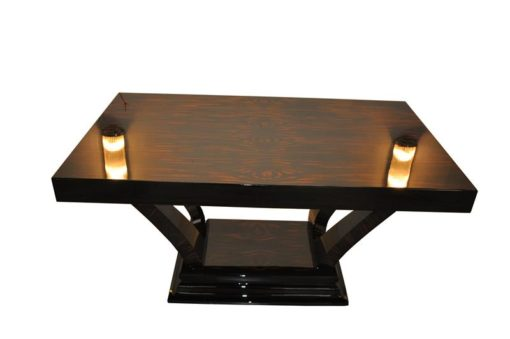 Art Deco, Table, Dining Table, Design, Furniture, Macassar, French, Antique, Original, SInglepiece, Extandable, Interiordesign, Pianolacquer