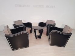 Art Deco, Armchairs, set, design, interiordesign, fabric, grey, black, living room, high end, piano lacquer, seating, antiques