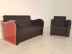 Art Deco, furniture, interior design, living room, leather, sofa, armchair, chrome liner, handmade, red, black, lacquer, high gloss, finish
