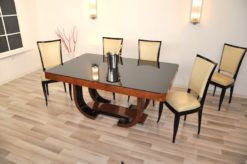 brown, high-gloss, tables, chairs, chair, art deco, great foot, living room, lacquer, luxury, veneer, amboina, piano lacquer, dining room set
