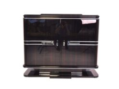 black, high gloss, commodes, art deco, great foot, living room, chrome handles, lacquer, luxury, veneer, chrome lines, piano lacquer