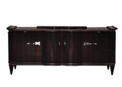 brown, high gloss, sideboard, art deco, great foot, living room, chrome handles, lacquer, luxury, veneer, makassar, piano lacquer, storage space