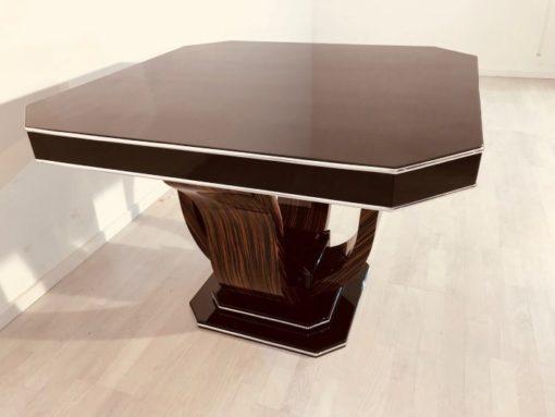 Art Deco, table, dining, living room, design, furniture, interior, interiordesign, octagonal, macassar, wood, antiques, restoration