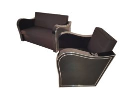 black, high-gloss, armchair, art deco, sofa, chromliner, living room, chrome handles, lacquer, luxury, veneer, chrome lines, piano lacquer
