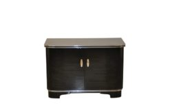 black, high gloss, commode, art deco, great foot, living room, chrome handles, lacquer, luxury, veneer, chrome lines, piano lacquer