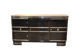 black, high gloss, sideboard, buffet, art deco, great foot, living room, chrome handles, lacquer, luxury, veneer, chrome lines, piano lacquer