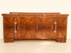 Art Deco, Sideboard, Credenza, Walnut, Serpentine doors, interiordesign, interior, furniture, antiques, chrome, buffet, storage, design