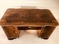 Art Deco, desk, design, curved, walnut, wood, frenc, original, partnerdesk, interior design, vintage, 1930s, living room, office, restoration