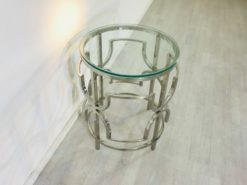 Bauhaus, Design, side table, interior, interiordesign, chrome, curved, foot, glass plate, furniture, petite, luxurious, living room