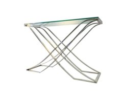 Bauhaus, console, table, glass, metal, brass, chrome, design, interior design, decor, home, furniture, furnishing, living room, hall