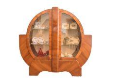 Art Deco, vitrine, cabinet, cupboard, design, round, walnut, grain, glass, shelves, interior, interiordesign, single piece, unique