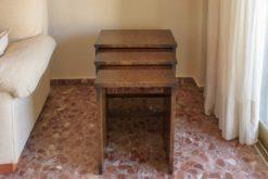 Art Deco, furniture, nesting tables, vintage, oak wood, antique, spain, 1920s, grain, simple but elegant desing, living room, stacking