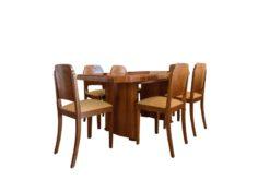 Art Deco, dining table, walnut wood, design, interior, grain, original, spain, 1920s, antique, vintage, table, dining set, living room