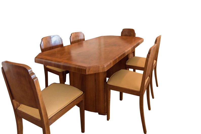 art deco dining table walnut original antique furniture. Black Bedroom Furniture Sets. Home Design Ideas