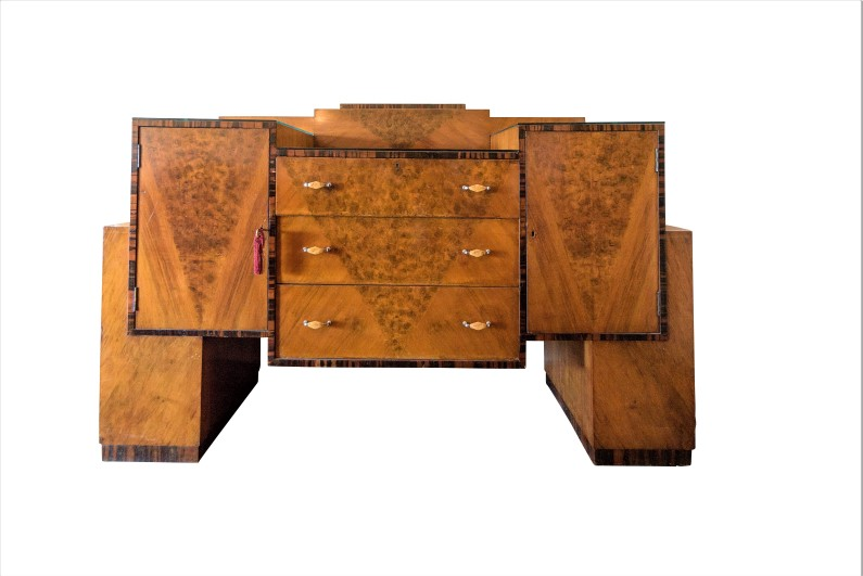 original art deco bar cabinet made of burl original. Black Bedroom Furniture Sets. Home Design Ideas
