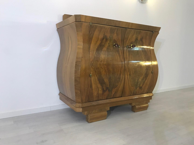 Curved Art Deco Walnut Commode Original Antique Furniture