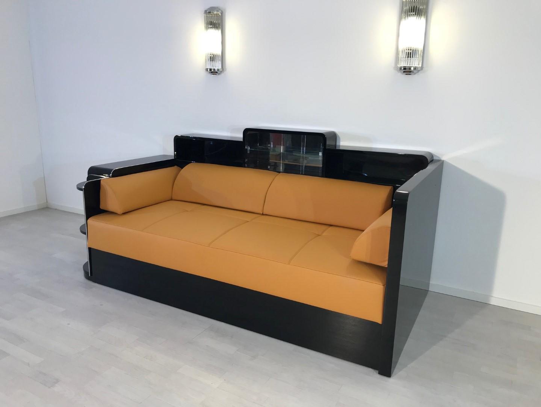 Black Art Deco Daybed Sofa Original Antique Furniture