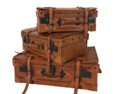 Suitacase, Set, Vintage, Midcentury, Design, leather, genuine, 1930s, Innendesign, Koffer, black locks, leather straps, home, decoration