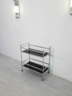 Bauhaus, Bar, barcart, Cart, serving, design, interior design, luxury, home, decor, decoration, chrome, metal, glass, black, lacobel