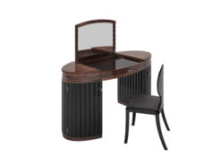 Art Deco, Macassar, Vanity, Table, dressing table, high gloss black, wood, doors, curved, oval shape, high end design, interior design, bedroom