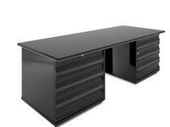 Black Art Deco desk with red drawers, design, high end, high gloss, office furniture, living room, interior design, chrome bars,