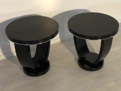 Black Side Tables Art Deco, Pianolacquer, Design, Interiordesign, Home Decoration, Pair, Luxuiorus, Decor, Pair, Chrome bars