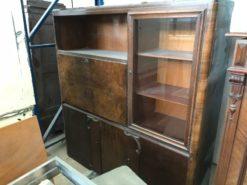 cabinet, unrestored, brown, great foot, veneer, antique, living room, elegant, pattern, luxury, large, stable, pattern, walnut